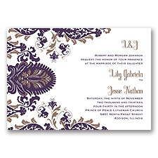 Dynamic Damask Letterpress - Plum - Invitation