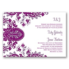 Dynamic Damask Letterpress - Sangria - Invitation