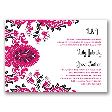 Dynamic Damask Letterpress - Watermelon - Invitation
