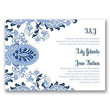 Dynamic Damask Letterpress - Bluebird - Invitation