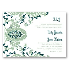Dynamic Damask Letterpress - Meadow - Invitation