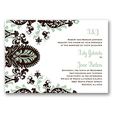 Dynamic Damask Letterpress - Chocolate - Invitation