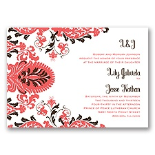 Dynamic Damask Letterpress - Guava - Invitation