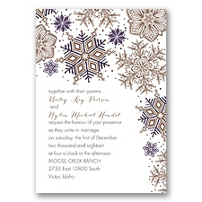 Winter Delight Letterpress - Plum - Invitation
