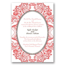 Nature's Splendor Letterpress - Guava - Invitation