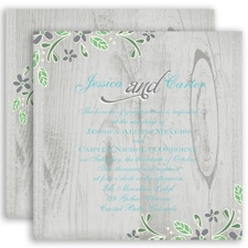 Woodsy Floral - Mercury - Invitation