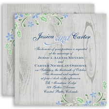 Woodsy Floral - Bluebird - Invitation
