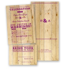 Rustic Typography - Sangria - Value Set Invitation