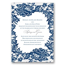 Surrounded in Lace Letterpress - Marine - Invitation