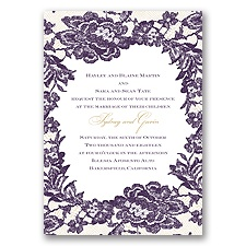 Surrounded in Lace Letterpress - Plum - Invitation