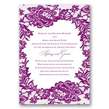 Surrounded in Lace Letterpress - Sangria - Invitation