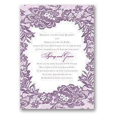 Surrounded in Lace Letterpress - Wisteria - Invitation