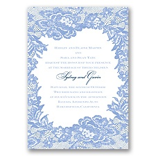 Surrounded in Lace Letterpress - Bluebird - Invitation