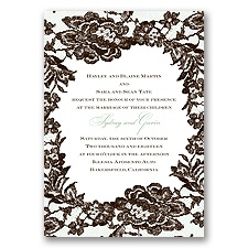 Surrounded in Lace Letterpress - Chocolate - Invitation