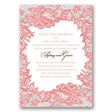 Surrounded in Lace Letterpress - Coral Reef - Invitation
