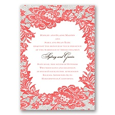 Surrounded in Lace Letterpress - Guava - Invitation