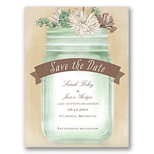 Vintage Canning Jar - Clover - Save the Date