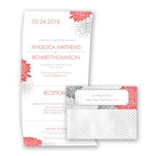 Exceptional Floral - Guava - Seal and Send Invitation