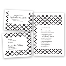 Quatrefoil Lattice - Black - Invitation Bundles