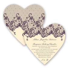 Charming Lace - Plum - Invitation