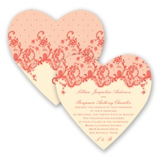 Charming Lace - Guava - Invitation