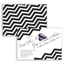 Chevron Typography - Plum - Invitation