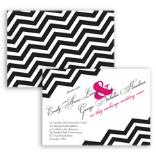 Chevron Typography - Watermelon - Invitation