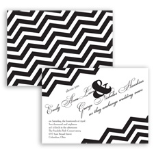 Chevron Typography - Black - Invitation