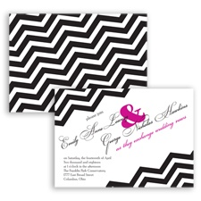 Chevron Typography - Begonia - Invitation