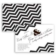 Chevron Typography - Chocolate - Invitation