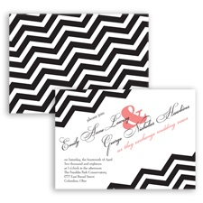 Chevron Typography - Coral Reef - Invitation