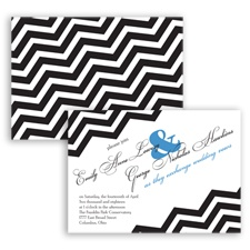 Chevron Typography - Cornflower - Invitation