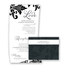 Bold Damask - Mercury - Seal and Send Invitation