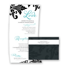 Bold Damask - Pool - Seal and Send Invitation