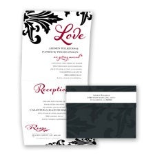 Bold Damask - Apple - Seal and Send Invitation