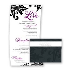 Bold Damask - Sangria - Seal and Send Invitation