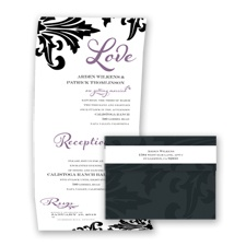 Bold Damask - Wisteria - Seal and Send Invitation