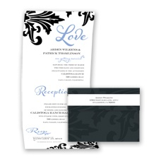 Bold Damask - Bluebird - Seal and Send Invitation