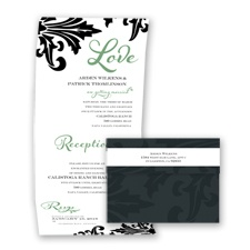 Bold Damask - Clover - Seal and Send Invitation