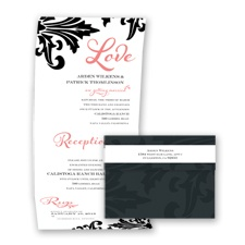 Bold Damask - Coral Reef - Seal and Send Invitation