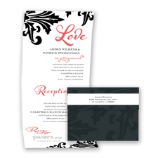 Bold Damask - Guava - Seal and Send Invitation