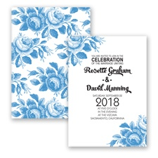 Toile Roses - Cornflower - Invitation