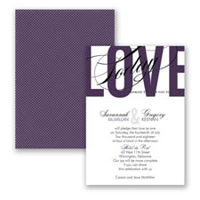 Typography Tribute - Plum - Invitation