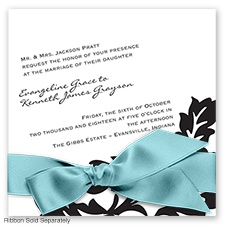 Modern Damask - Black - Invitation