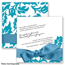 Modern Damask - Malibu - Invitation