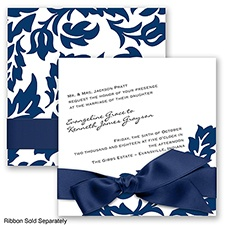 Modern Damask - Marine - Invitation