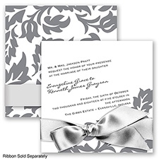 Modern Damask - Mercury - Invitation