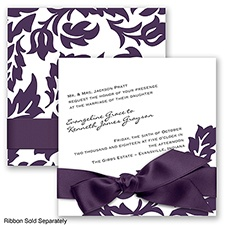 Modern Damask - Plum - Invitation