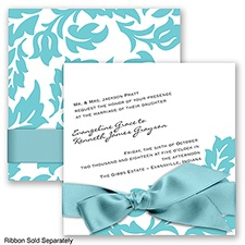 Modern Damask - Pool - Invitation