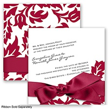 Modern Damask - Apple - Invitation